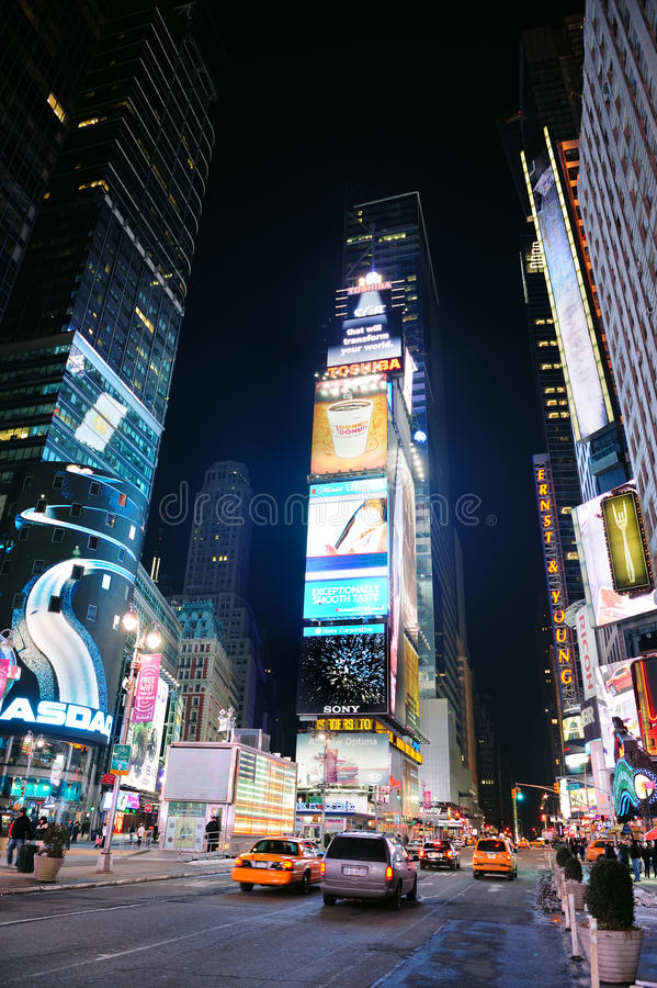 New York City Manhattan Time Square night. NEW YORK CITY, NY - JAN 30: Times Square is featured with Broadway Theaters and LED signs as a symbol of New York City stock images