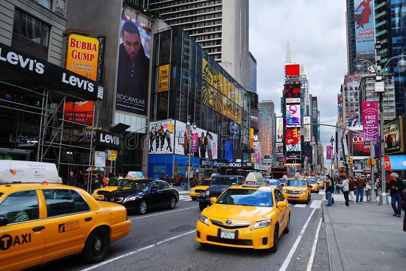 New York City Manhattan Times Square. NEW YORK CITY - SEP 5: Times Square, featured with Broadway Theaters and LED signs, is a symbol of New York City and the stock photo