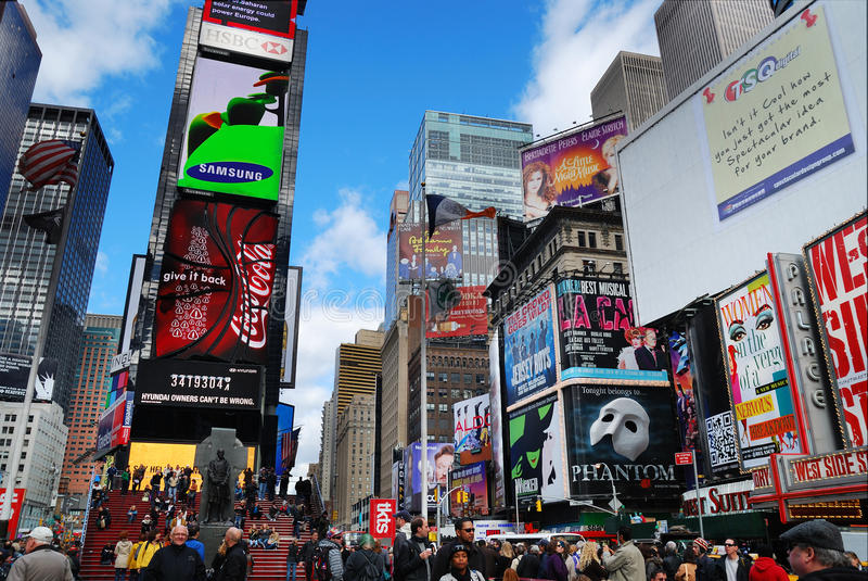 New York City Manhattan Times Square. NEW YORK CITY - SEP 5: Times Square, featured with Broadway Theaters and LED signs, is a symbol of New York City and the royalty free stock photos