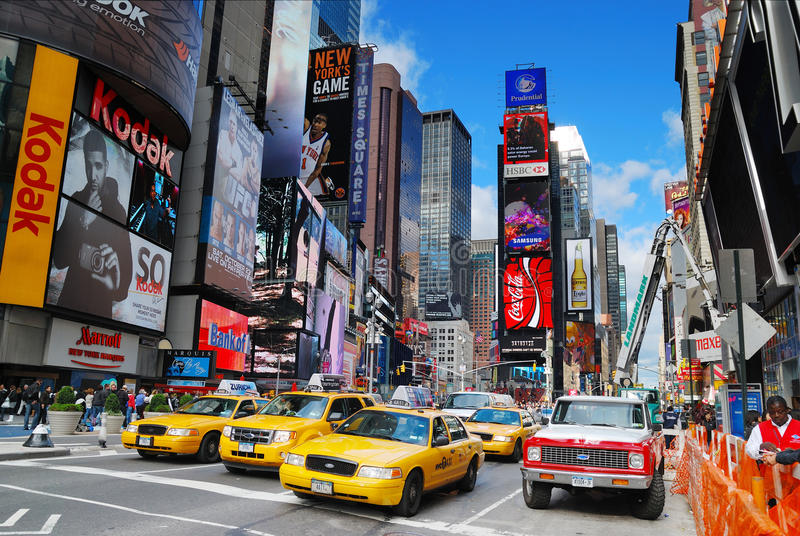 New York City Manhattan Times Square. NEW YORK CITY - SEP 5: Times Square, featured with Broadway Theaters and LED signs, is a symbol of New York City and the stock images