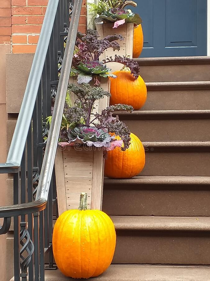 New York city, Manhattan, Upper West Side. Halloween Pumpkins and Plants Decorations Placed Successively Down the Stairway. New York city, Manhattan, Upper West stock photography