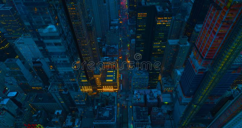 New York City Manhattan usa midtown aerial panorama view with skyscrapers and blue sky.2019 royalty free stock image