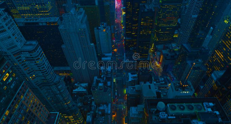 New York City Manhattan usa midtown aerial panorama view with skyscrapers and blue sky. 2019 royalty free stock photo