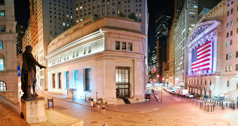 New York City Manhattan Wall Street panorama. NEW YORK CITY - AUG 8: Wall Street New York Stock Exchange panorama, the world's largest stock exchange by market stock photo