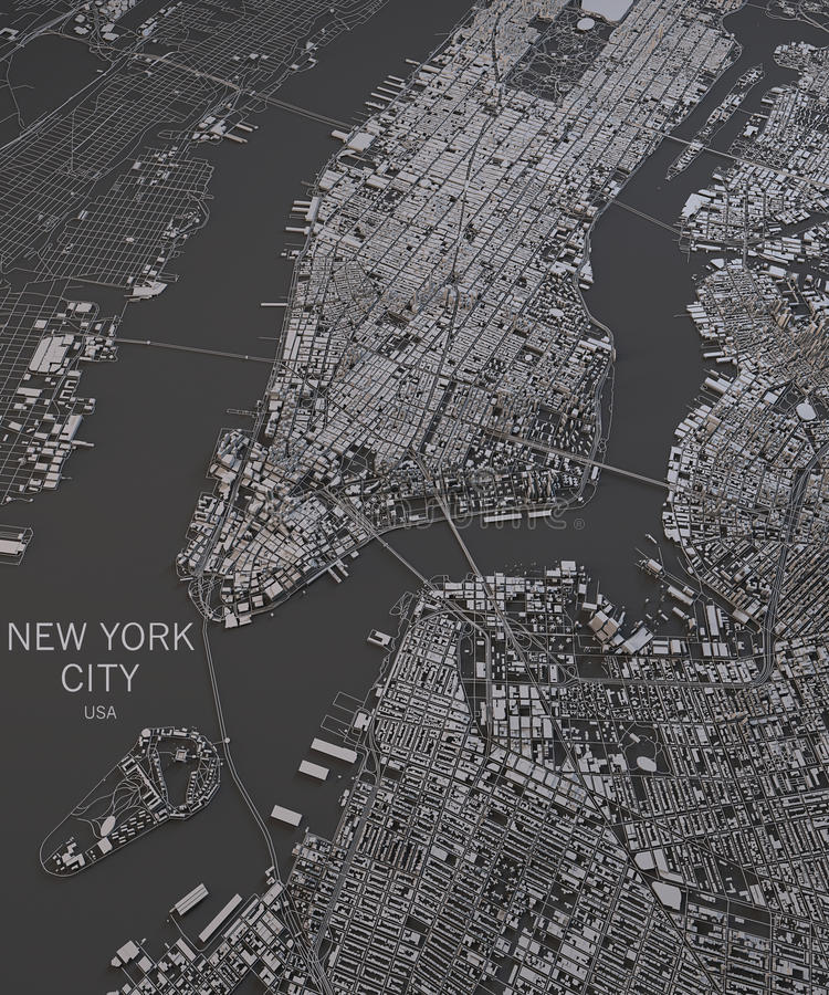 New York City map, satellite view, map in negative stock illustration