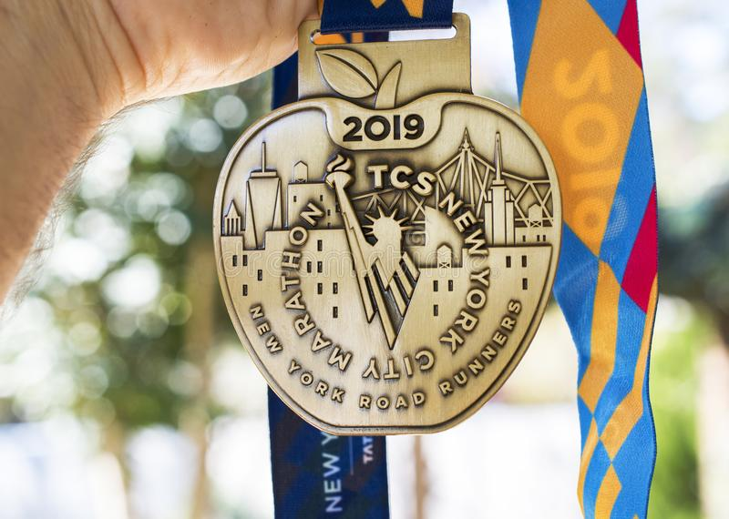 2019 New York City Marathon finishers medal stock photo