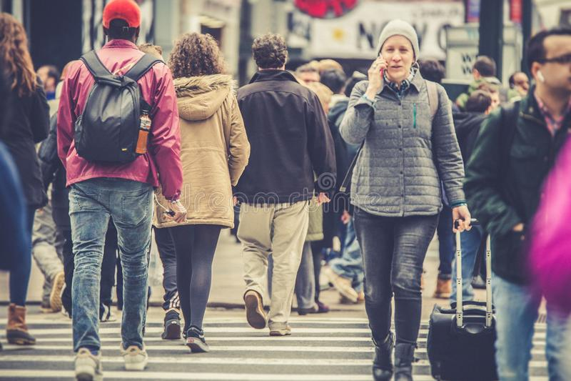 New York City Street Scene with People stock photo