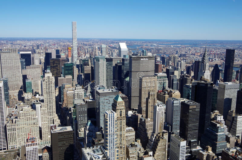 NEW YORK CITY - MARCH 5: Cityscape aerial view of Manhattan, March 5 2017 in New York, USA stock photo