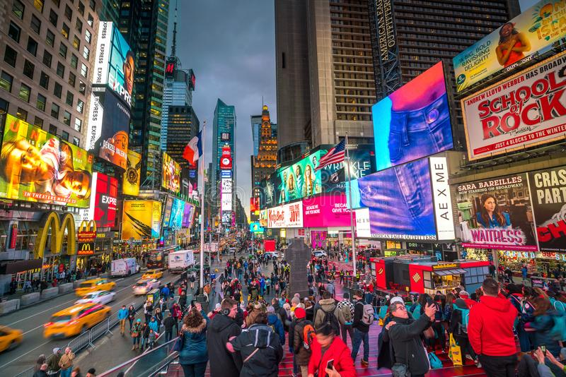 Times Square area with neon art and commerce royalty free stock images