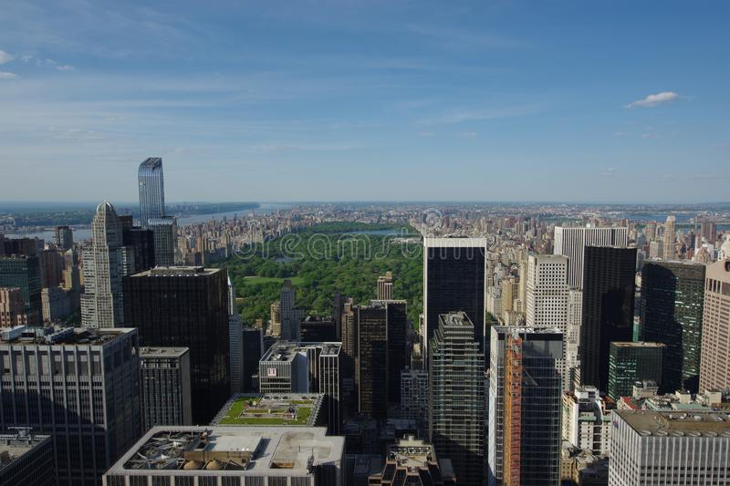View of Manhattan from Rockefeller Center rooftop royalty free stock photos