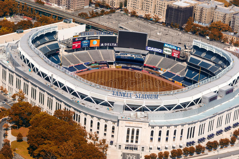 NEW YORK CITY - MAY 22, 2013: Yankee Stadium, aerial view. Home. Of the Yankees it is situated in the Bronx and can host 50000 for Baseball Games stock photo