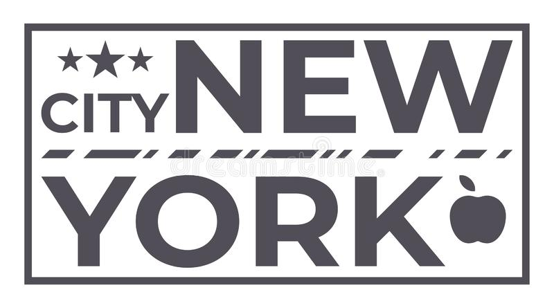 New York City med tre stjärna- och äpplesymbolssymbol Typografisk vektort-skjorta tryck Illustration för mode för tappningamerika stock illustrationer
