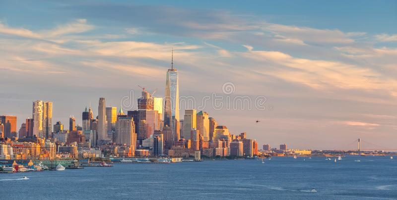 New York City midtown Manhattan sunset skyline panorama view over Hudson River royalty free stock images