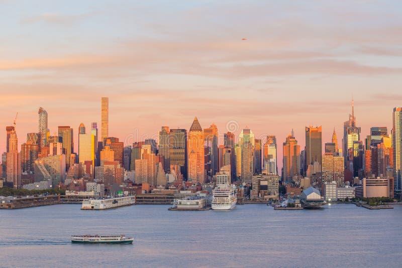 New York City midtown Manhattan sunset skyline panorama view over Hudson River stock photo