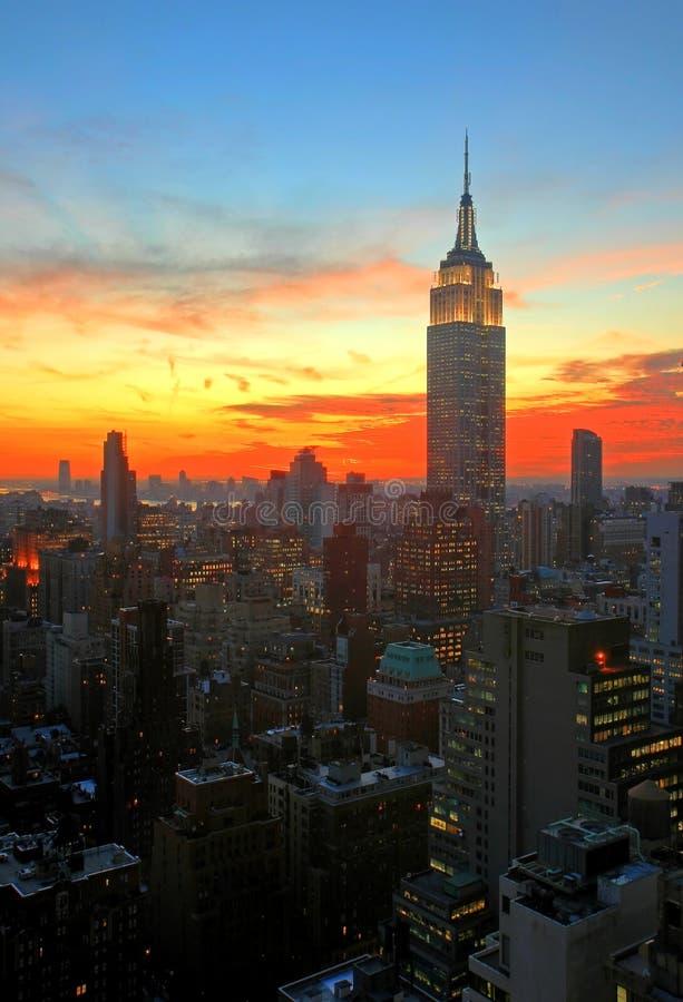 New York City midtown skyline. At dark stock image