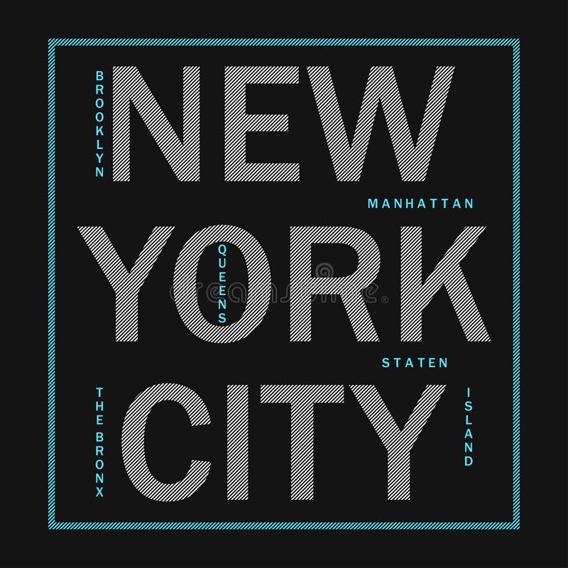 New York City - modern typography for design clothes, athletic t-shirt. Graphics for print product, apparel. Badge for sportswear. Vector illustration royalty free illustration