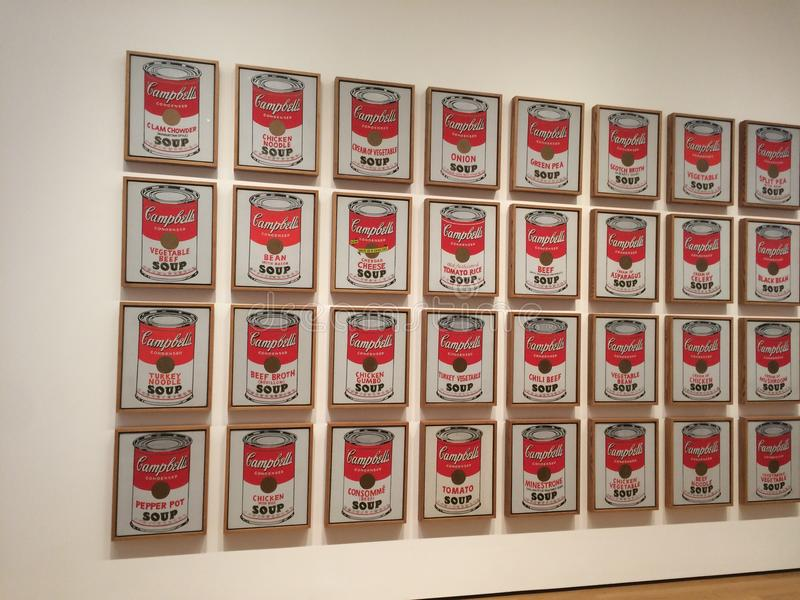 Campbell`s soup by Andy Warhol. New York City MOMA. Andy Warhol, Campbell`s Soup Cans stock photos