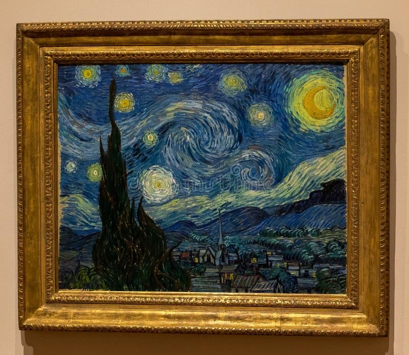 New York City MOMA stjärnklar natt, Vincent Van Gogh arkivbilder