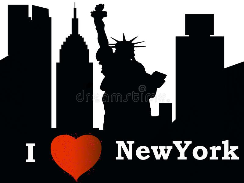 New York City mostra-me em silhueta ama NY ilustração royalty free
