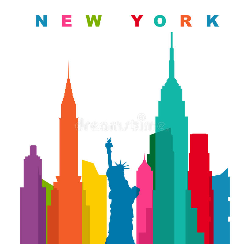 New York City multicolore Illustration plate de vecteur illustration stock