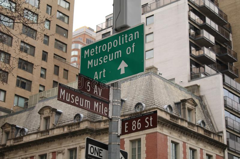 New York City, Museum Mile, Street Signs. Street signs on 5th Avenue for Museum Mile and the Metropolitan Museum of Art stock photography