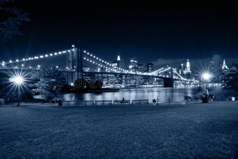 New York City na noite Vista do parque de Brooklyn fotografia de stock