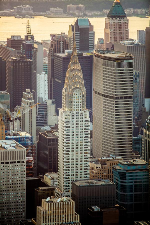 New York City na opinião aérea do por do sol foto de stock royalty free