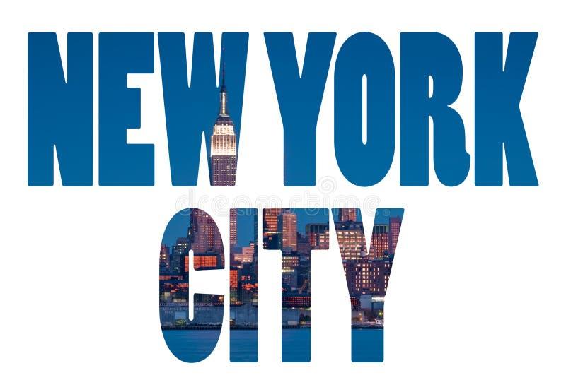 New York City namnger - tecknet för USA loppdestinationen på vit backgr arkivfoton