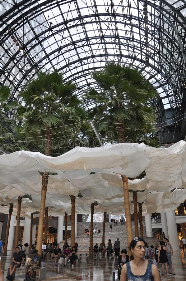 New York City, 2nd July: Brookfield Place interior in Manhattan from New York City in United States. Brookfield Place interior in Manhattan from New York City in stock images