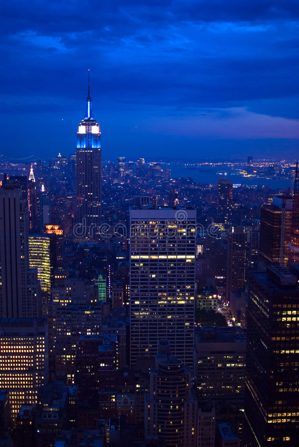Download New york city at night stock image. Image of aerial, setting - 2621533