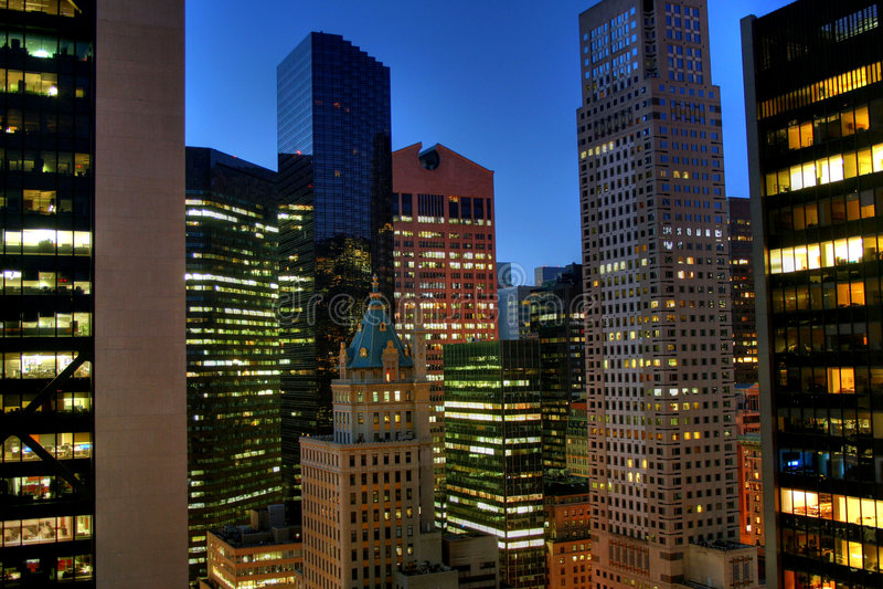 New York City in the night stock photo