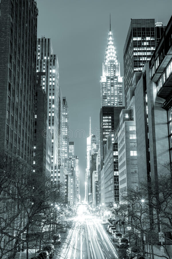 New York City at night - 42nd Street with traffic, black and wh stock photo