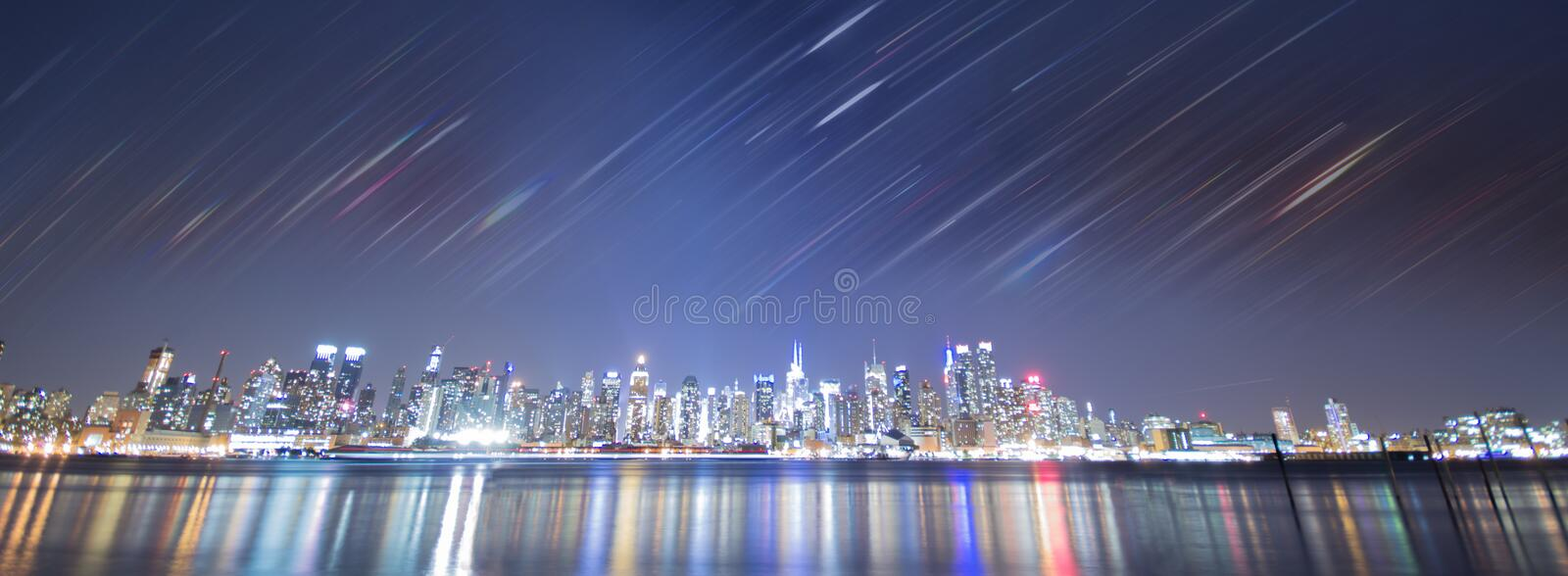 New york city night with rainbow stripes stock images