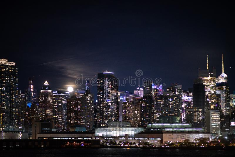 New York City night skyline Manhattan midtown buildings.  royalty free stock photography