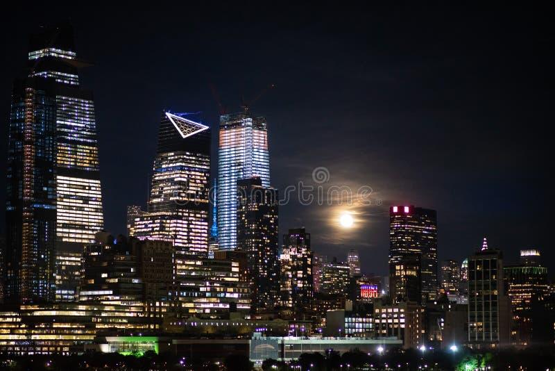 New York City night skyline Manhattan midtown buildings.  stock images