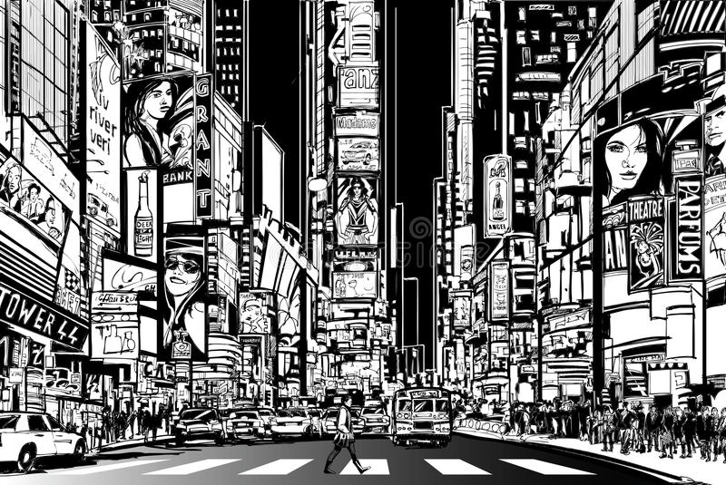 New York city at night. Vector Illustration of a street in New York city at night royalty free illustration