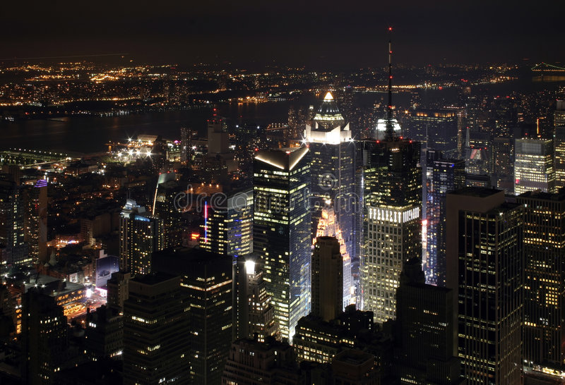 New York City Nightscape fotografie stock libere da diritti