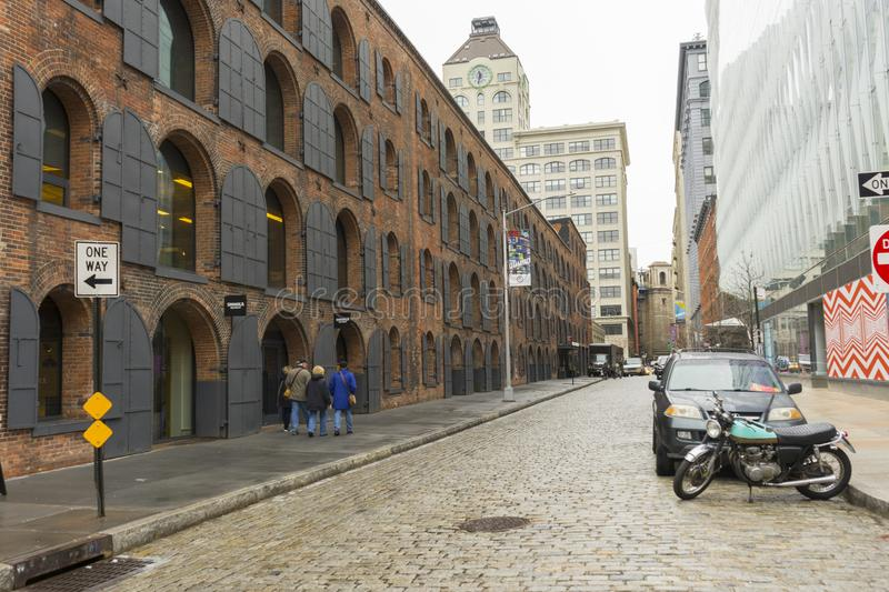 Street view of DUMBO Neighbourhood in Brooklyn in New York City ,USA. NEW YORK CITY,NY - APRIL 25,2018 : Street view of DUMBO Neighborhood in Brooklyn in New stock image