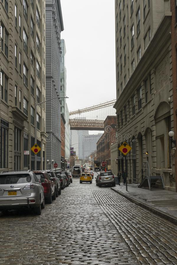 Street view of DUMBO Neighbourhood in Brooklyn in New York City ,USA. NEW YORK CITY,NY - APRIL 25,2018 : Street view of DUMBO Neighborhood in Brooklyn in New stock photography