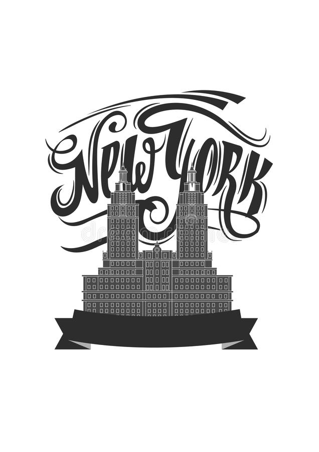 New york city. NY logo isolated. NYC label or logotype. Vintage badge calligraphy in grunge style. New york city. NY logo isolated. Black textured NYC label or stock illustration