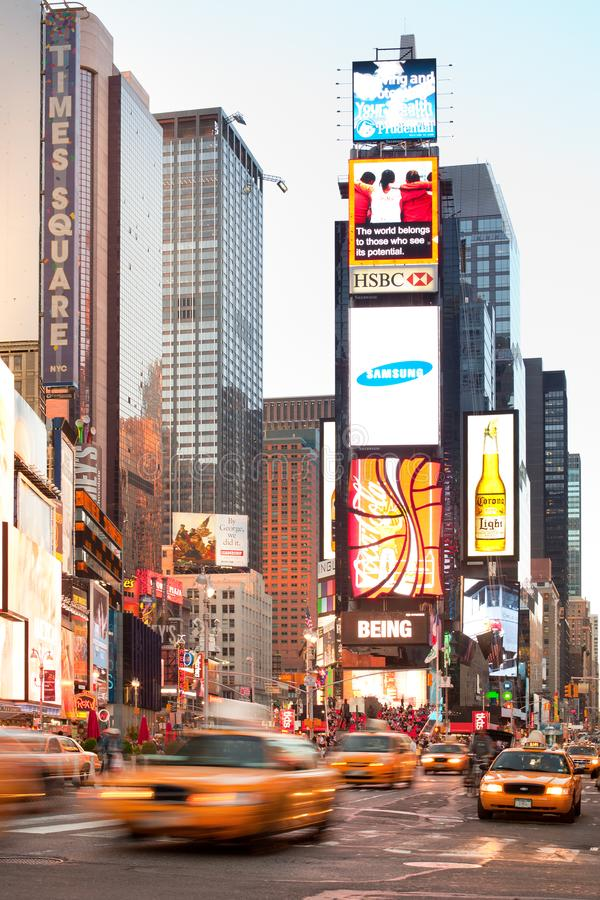 Traffic of yellow cabs at Times Square royalty free stock image