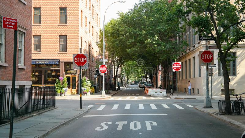New York City, NY, USA 05.29.2018 intersection at Stonewall Place, Christopher Street in Greenwich Village stock image