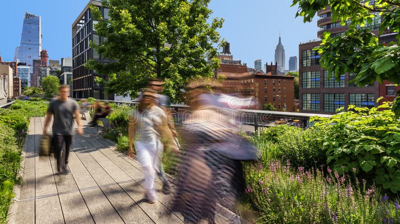 View from the High Line towards the Hudson Yards on Summer Morning. Chelsea, Manhattan, New York City royalty free stock photography
