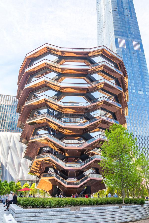 New York City, NY, USA - May 17, 2019: The Vessel, also known as the Hudson Yards Staircase royalty free stock photo