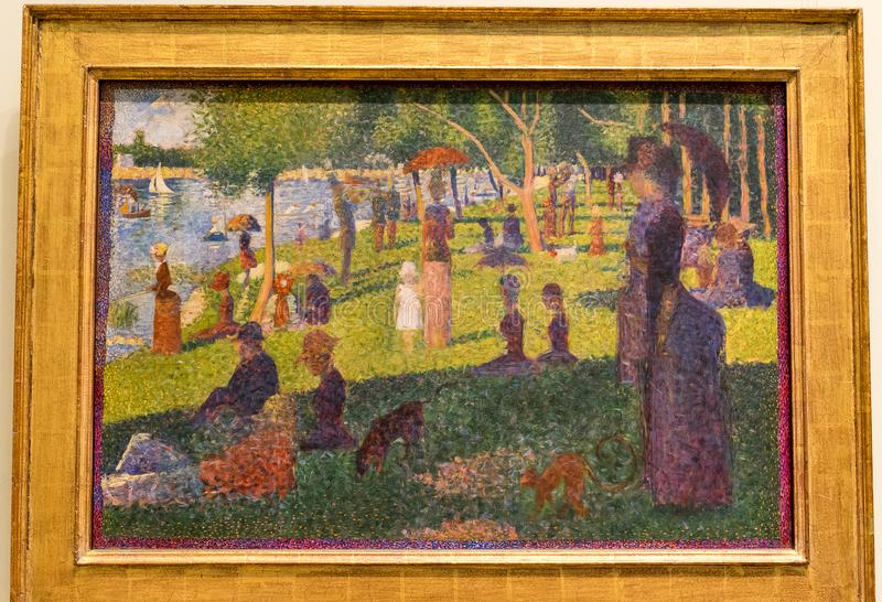 New York City The Met - Georges Seurat - A Sunday Afternoon on the Island of La Grande royalty free stock image