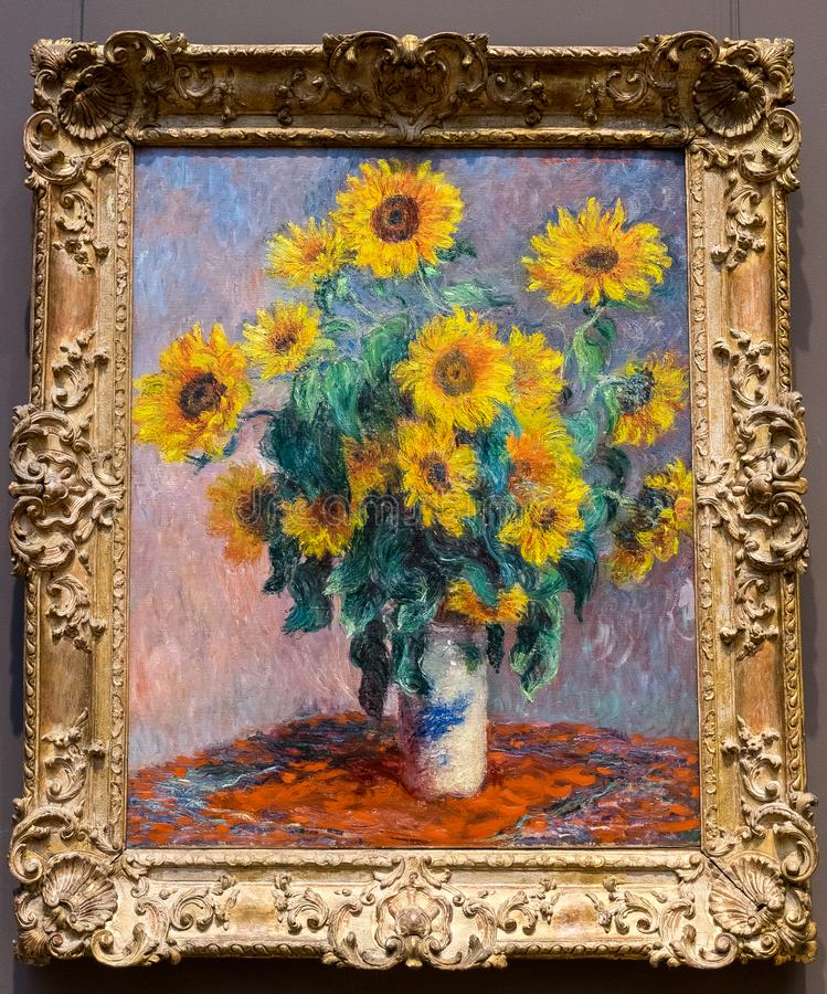 New York City The Met - Claude Monet - Bouquet of Sunflowers stock photo