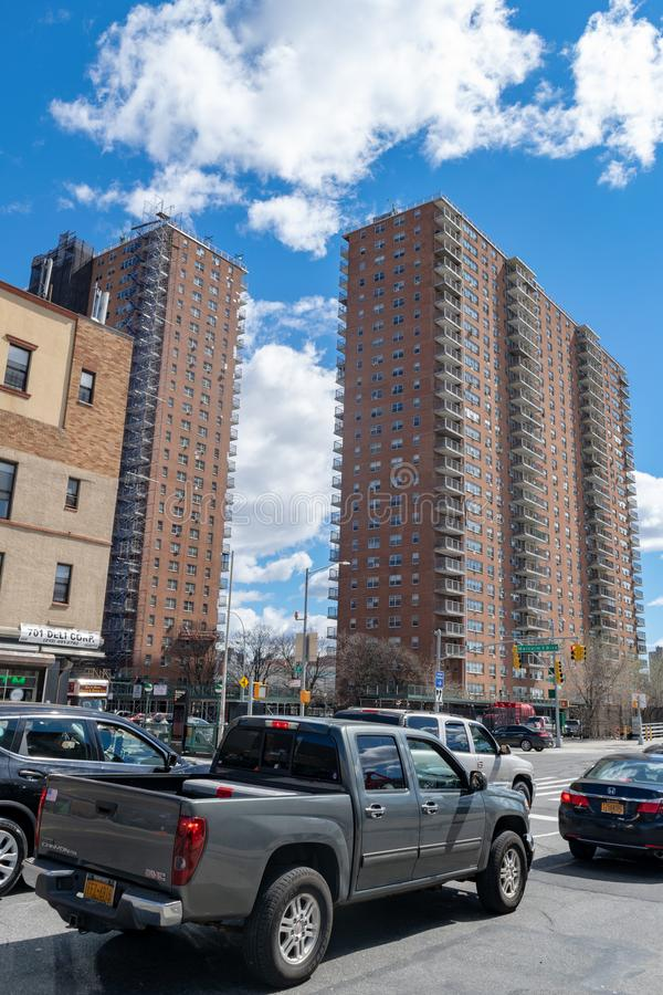 New York City, NY/USA - 04/09/2019: NYC housing projects on 145th Street and Malcolm X Boulevard in Harlem stock photo