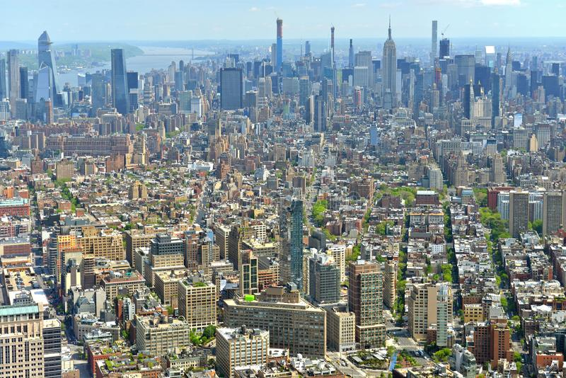 New York City NYC Manhattan skyline aerial view. Most populous city in United States royalty free stock photo