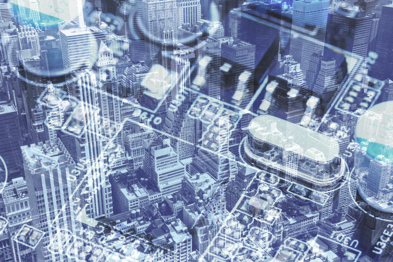 New York City och datormoderkortcollaget arkivfoto