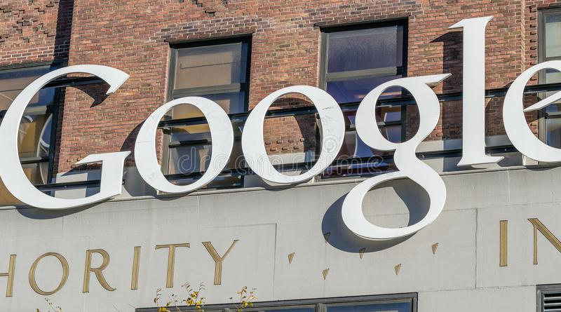 NEW YORK CITY - OCTOBER 23, 2015: Google sign on one Google building. Google is an American multinational corporation. Specializing in Internet services and royalty free stock images